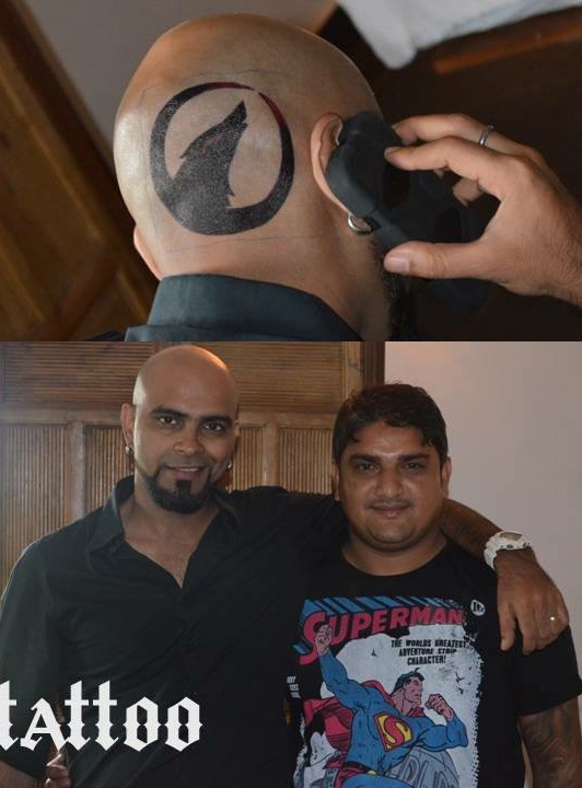 Actor Raghu Ram's Tattoo Done By Mukesh Waghela At Moksha Tattoo Studio.