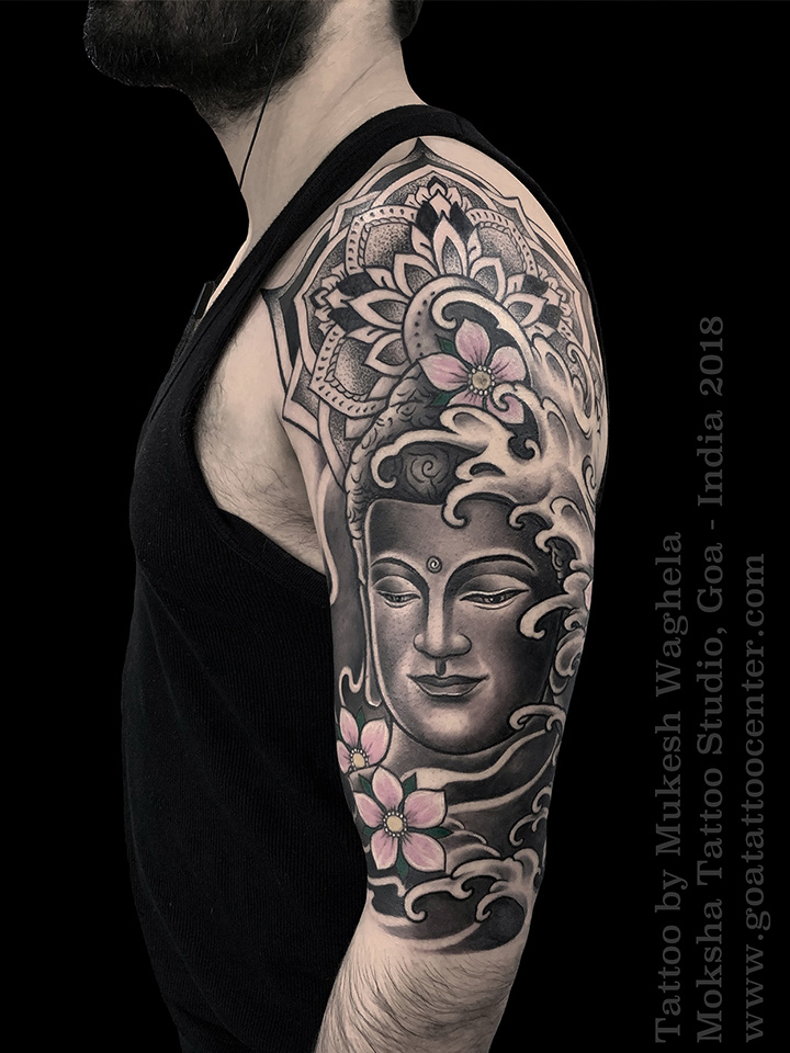 Buddha Tattoo by Mukesh Waghela at Moksha Tattoo Studio, Goa India.