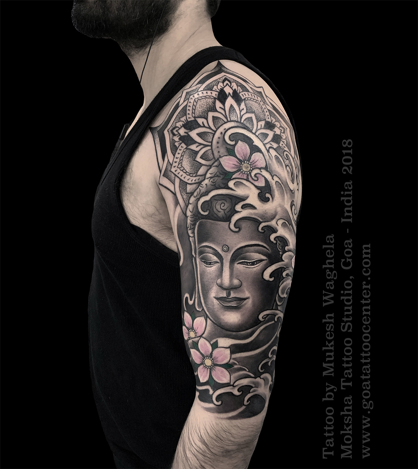 Buddha Tattoo by Mukesh Waghela at Moksha Tattoo Studio, Goa, India