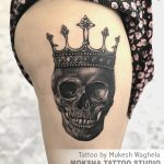 Skull with Crown Tattoo By Mukesh Waghela Best Tattoo Artist In Goa at Moksha Tattoo Studio Goa India.